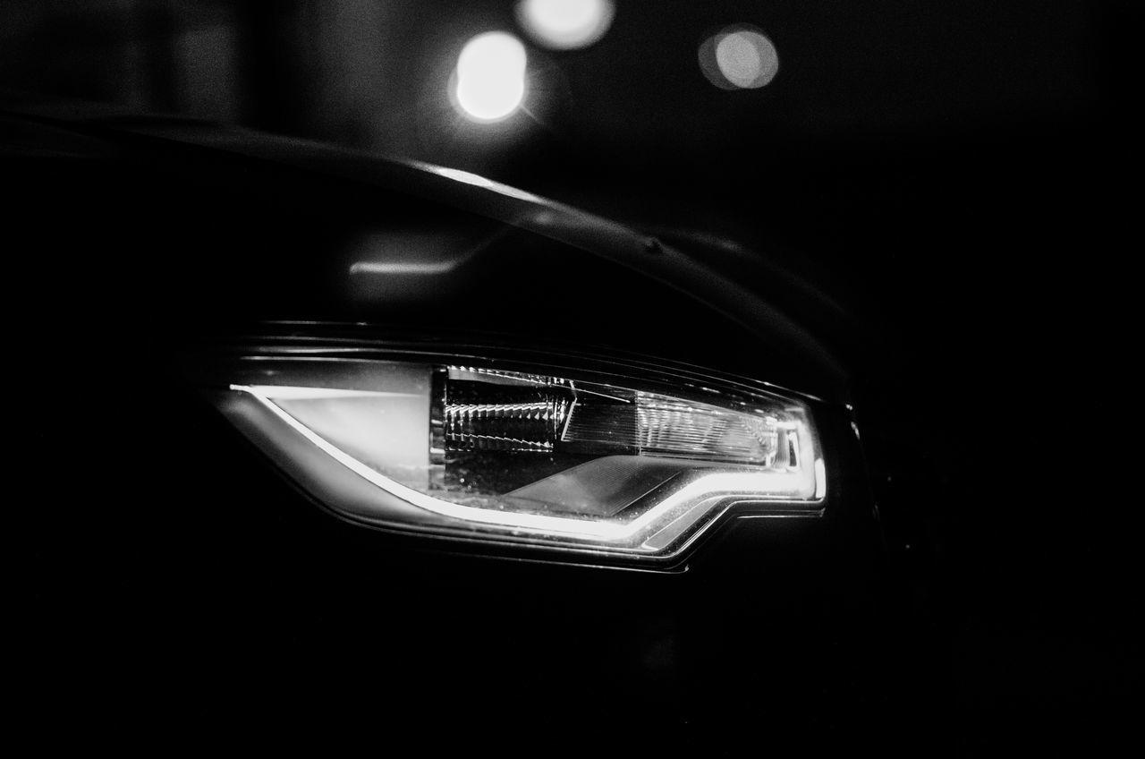 headlight, car, mode of transport, night, illuminated, transportation, land vehicle, lighting equipment, no people, close-up, indoors