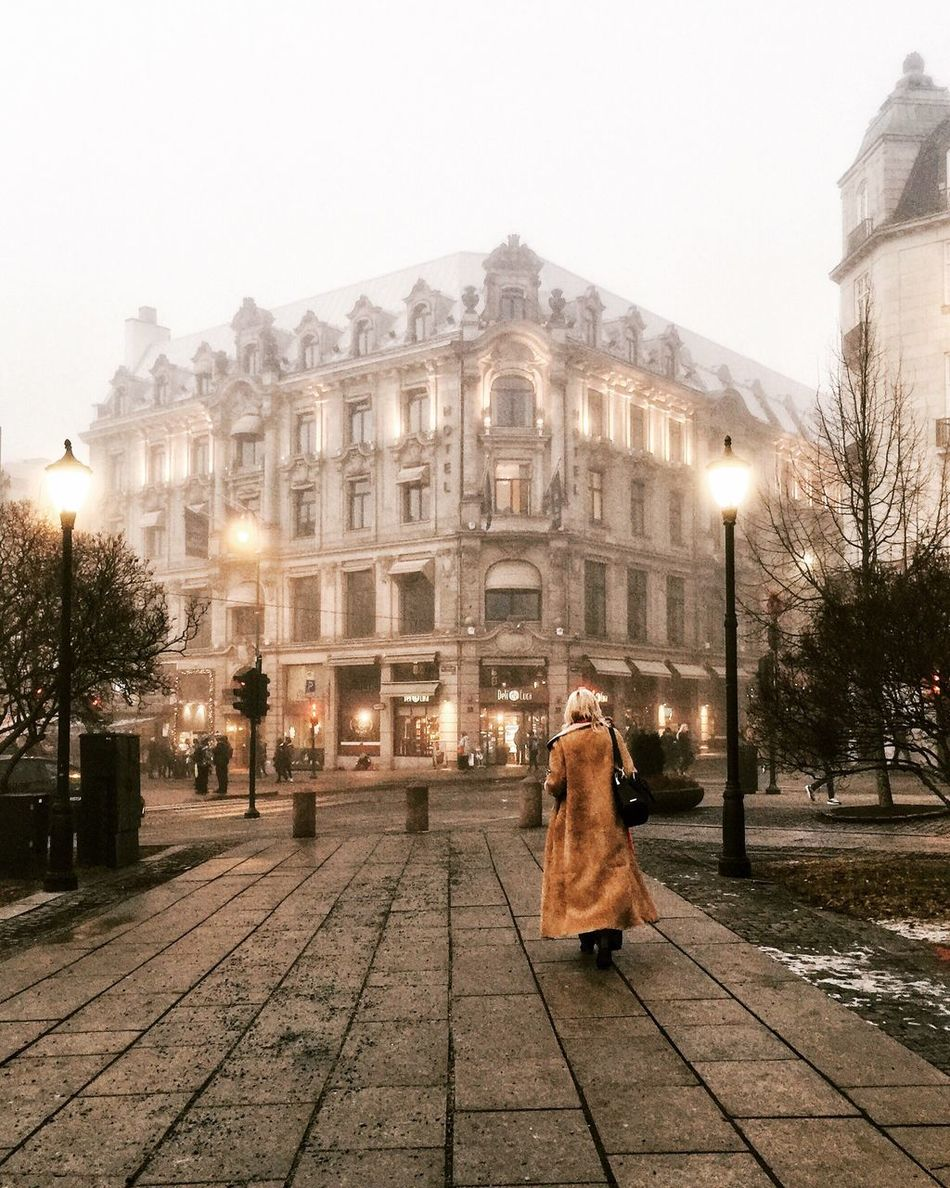 Oslo, January 2017 Building Exterior Architecture City City Life Street Photography Urbanphotography Urban Streetphoto_color Visitoslo Norway Oslo Streetphotography Visitnorway Foggy Travel Destinations Fog