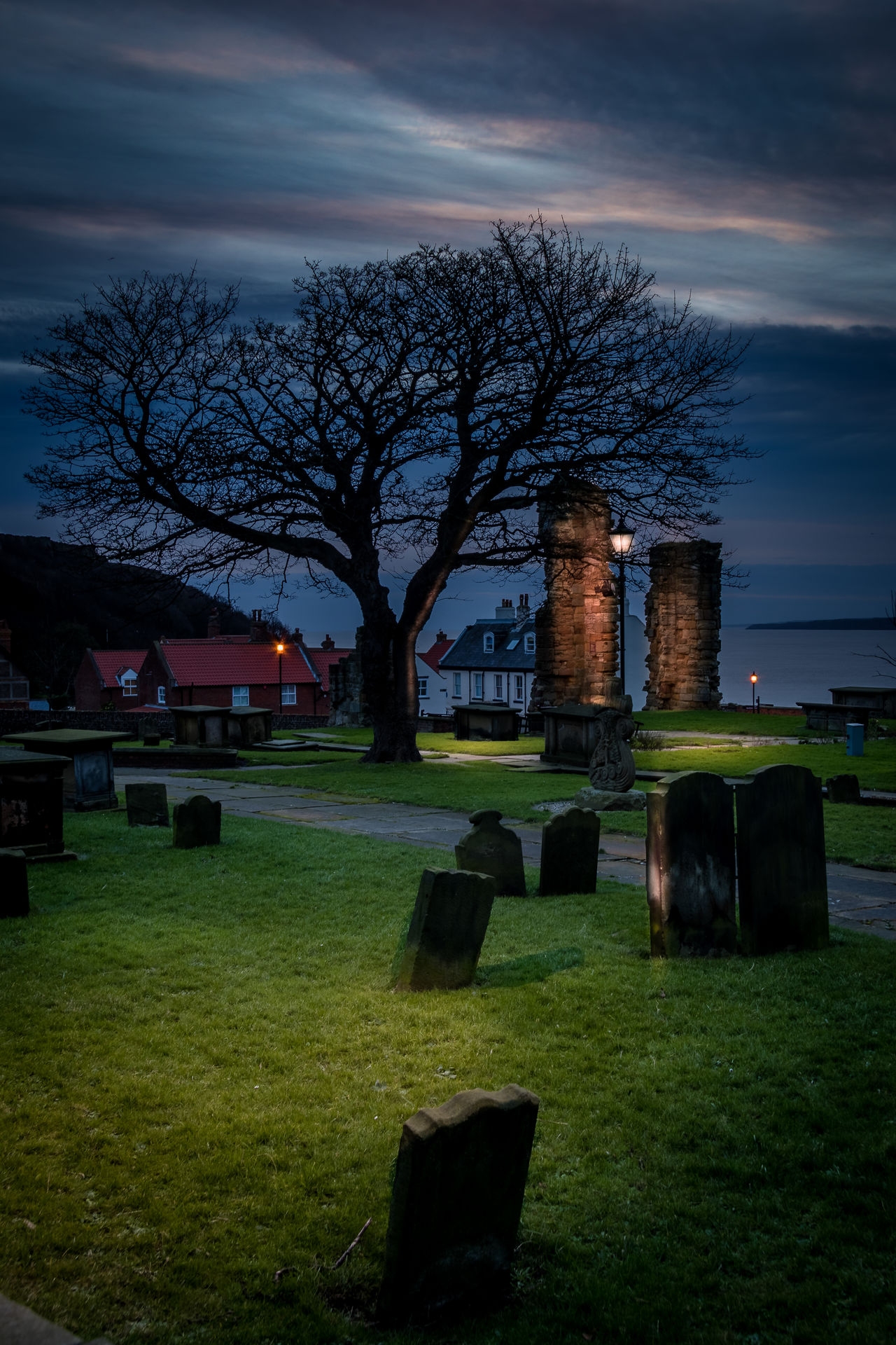 Lamplit Churchyard... Ancient Bay, Color Image, Dawn_of_day, England, Exterior, Gravestone, Graveyard, Hdr, Lamp, Lampost, Landscape_photography, Long_exposure, Morning, North_yorkshire, Portrait_orientation, Scarborough, Tone_mapped, Tree, Vignette, Wintertime Grass History Landscape Old Ruin Outdoors Tranquility Tree