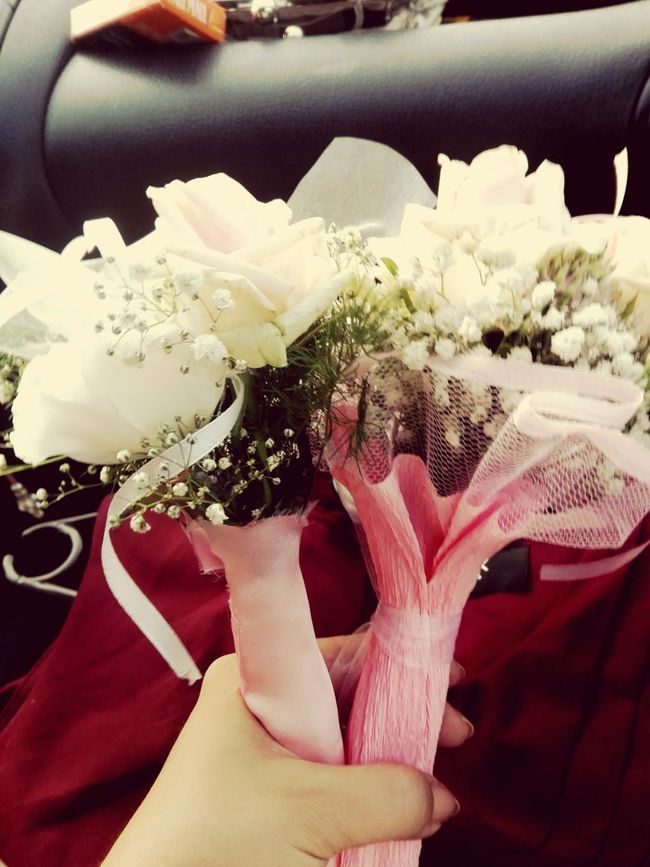 Flowers Wedding Bouquet Wedding Bouquet Pink White In A Car On The Road Happiness Vintage