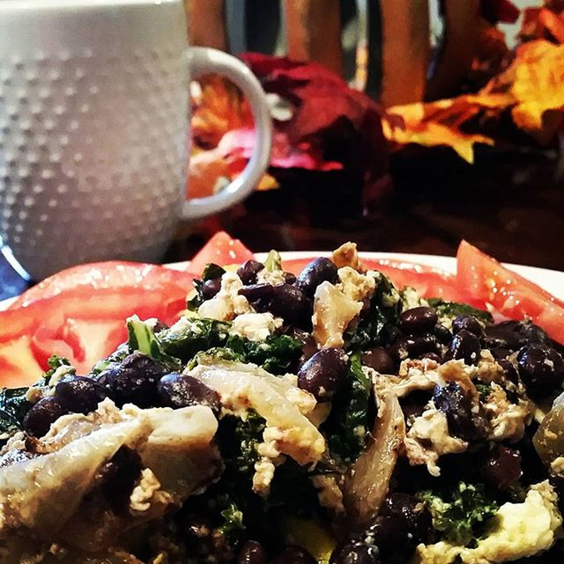 Extreme close of up the brain food I'm eating this am to make up for yesterday. Squash, onions, kale and black bean egg scramble Healthychoiceatthistime Fatgirlswag
