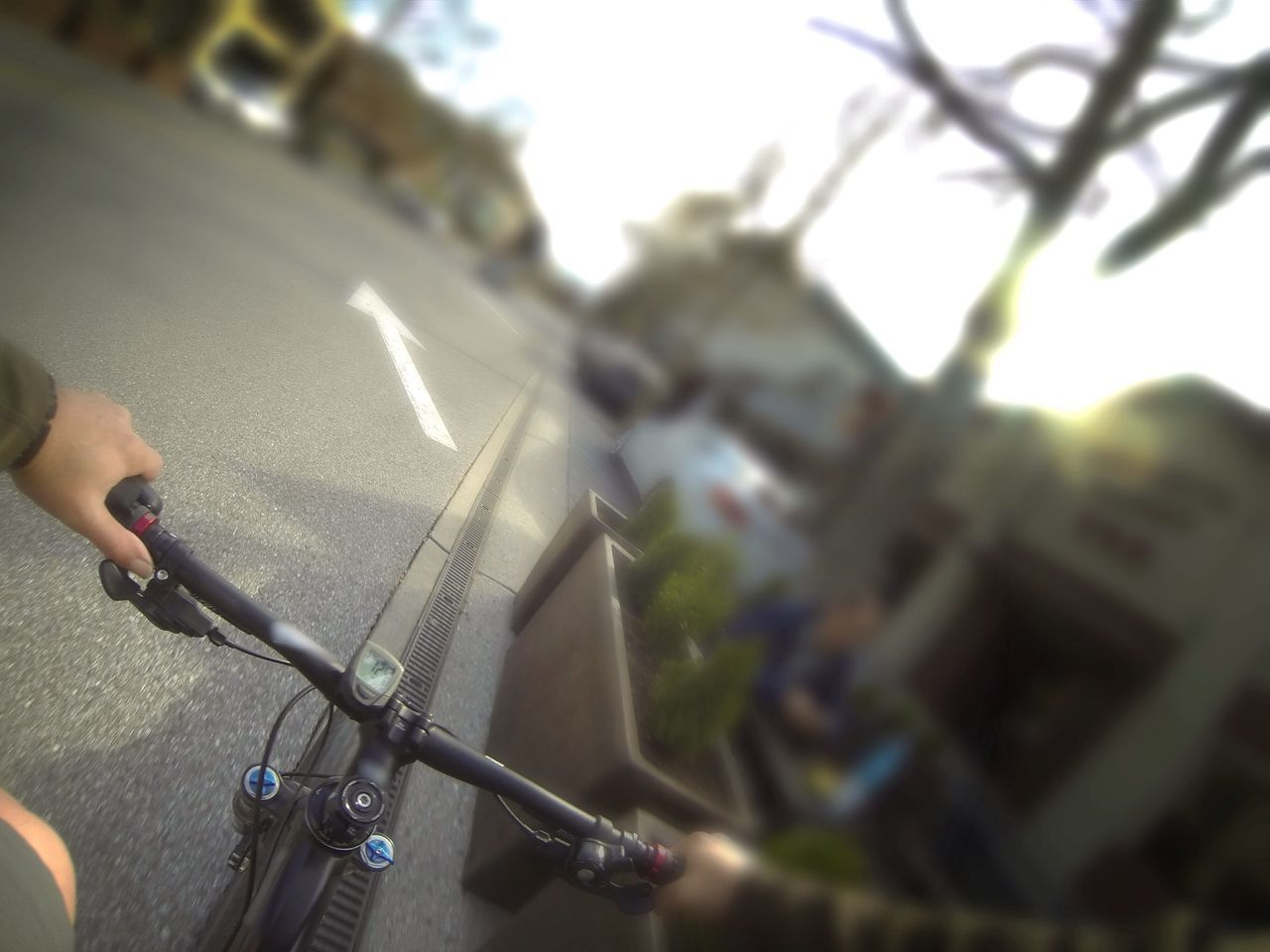 passing the still life of the cafe set Bike Bicycle MTB Mountainbike Perspective Personal Perspective POV Streetphotography Urbanphotography Cycling Handlebar Human Hand Human Body Part Outdoors Day City No Budget Photography