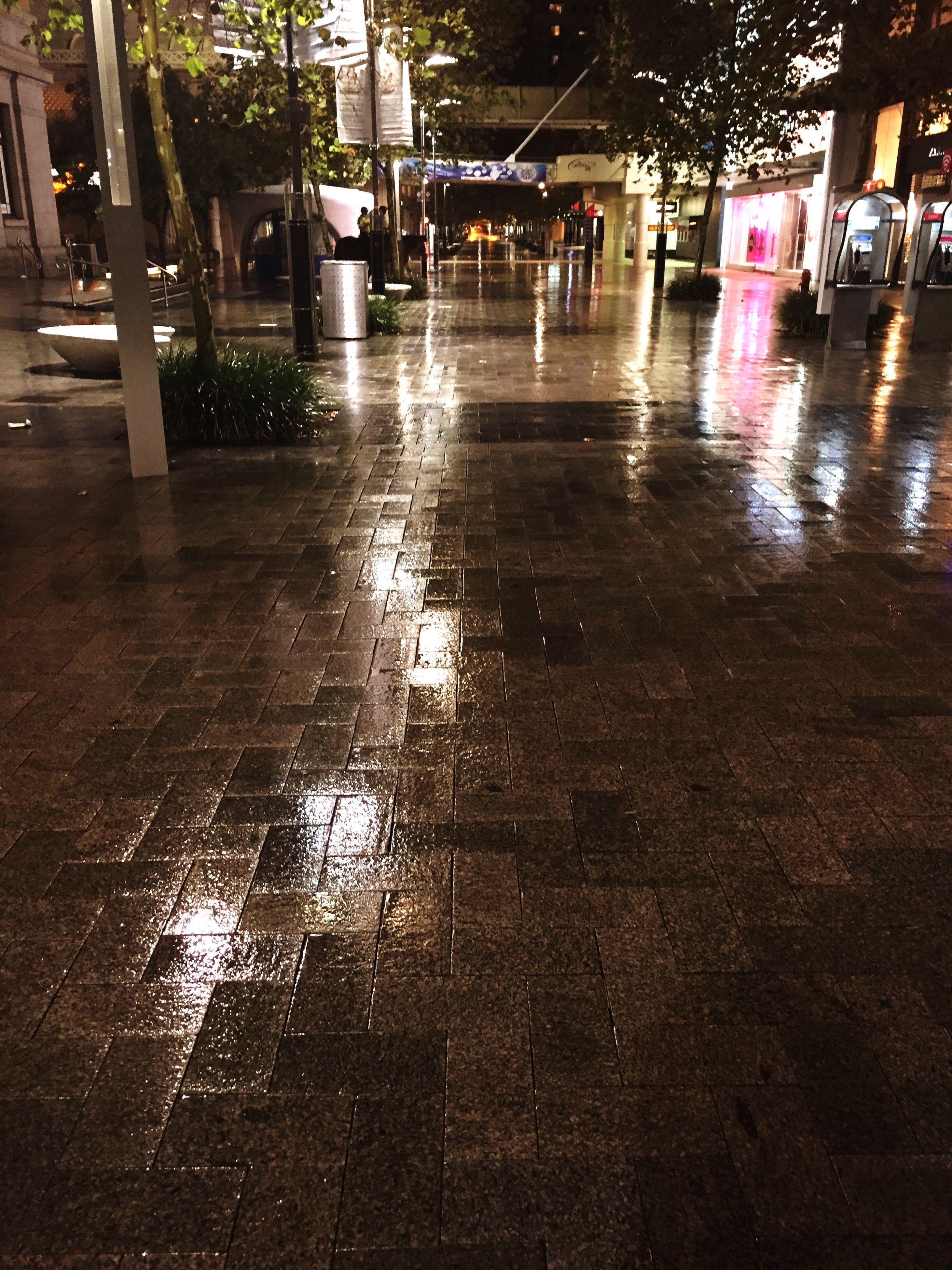 water, reflection, wet, street, building exterior, city, puddle, rain, built structure, architecture, night, tree, car, outdoors, no people, illuminated, road, sidewalk, high angle view, transportation