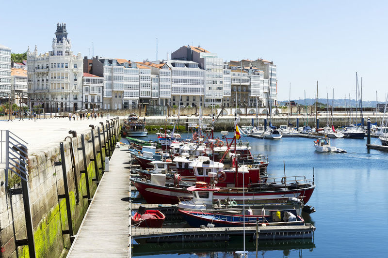 marina port of A Coruna, Spain, with sailboats, yachts and professional fishing boats moored A Coruña A Coruña Galleries Architecture Boats Coruña España Arquitecture Europe Europe Trip Galicia Galicia, Spain Ocean Atlantic Port Port Of Spain Spain ✈️🇪🇸 Travel Destinations