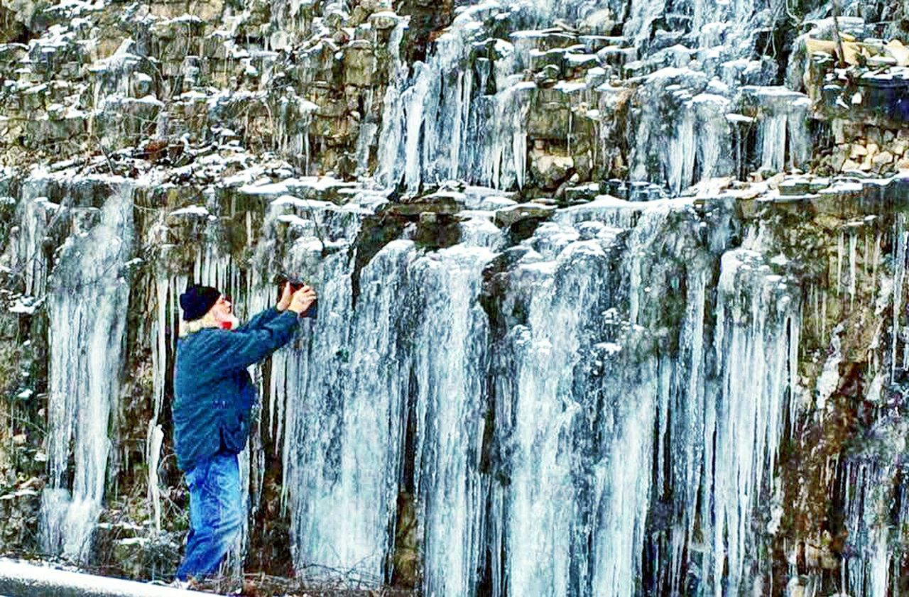 Capturing some Icicles with my Android Tablet here in the Ozarks Winter Cliffs Branson, Missouri Creation Besuty Nature Streamzoofamily Feel The Journey