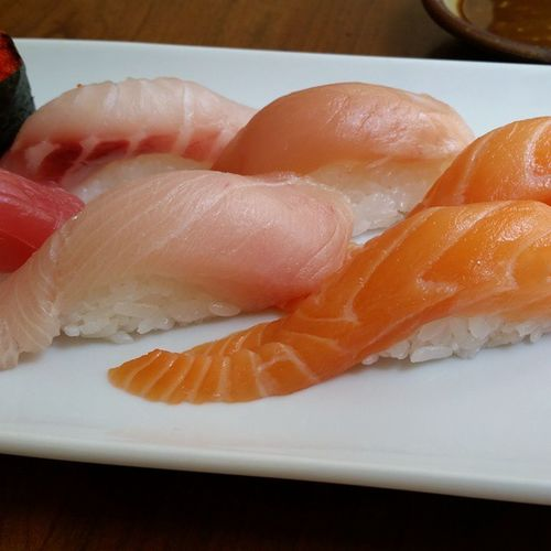 Lunch Sushi Nigiri Salmon Yellowtail Albacore Tuna Haru Boston