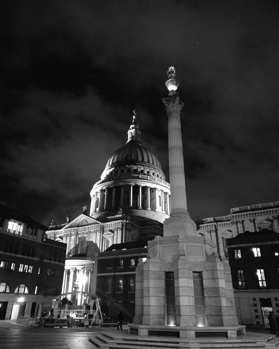 St Paul's Cathedral and paternoster square at night Silhouette Photography Huaweip9photos Matt Hollick Outdoors London Lifestyle Visitlondonofficial City Of London Tourism London Tourism London Life LONDON❤ Cityoflondon London London Photography City Paternostersquare Paternoster StPaulscathedral B&w Monochrome