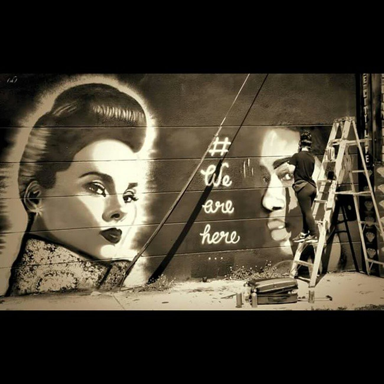 Wah Wearehere Women Aliciakeys @aliciakeys Spraypaint Wynwood Streetart Sepia Miami Follow me