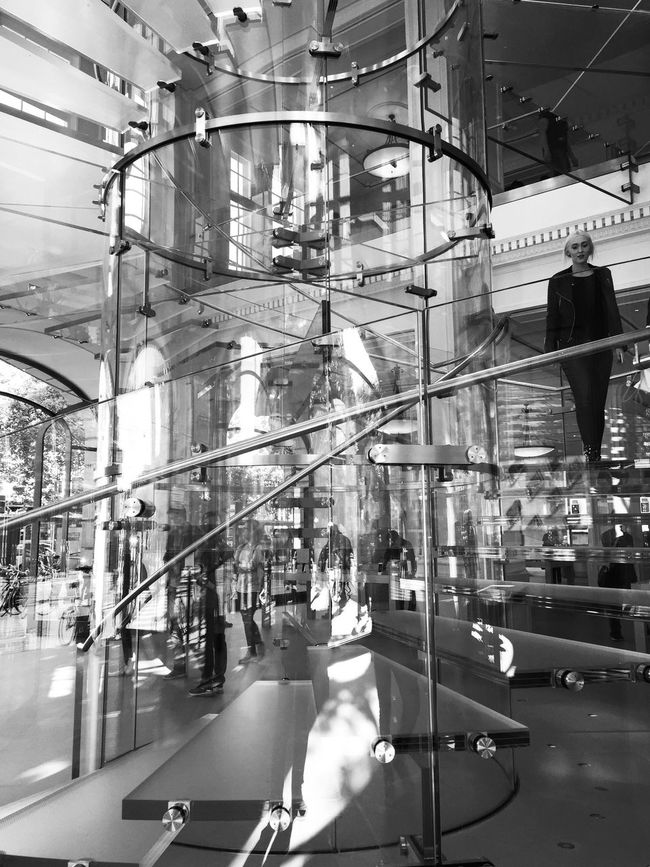 Architecture_bw Bnw_captures Architectural Detail Reflections Reflection_collection Architecturelovers Apple Store Amsterdam Amsterdamcity