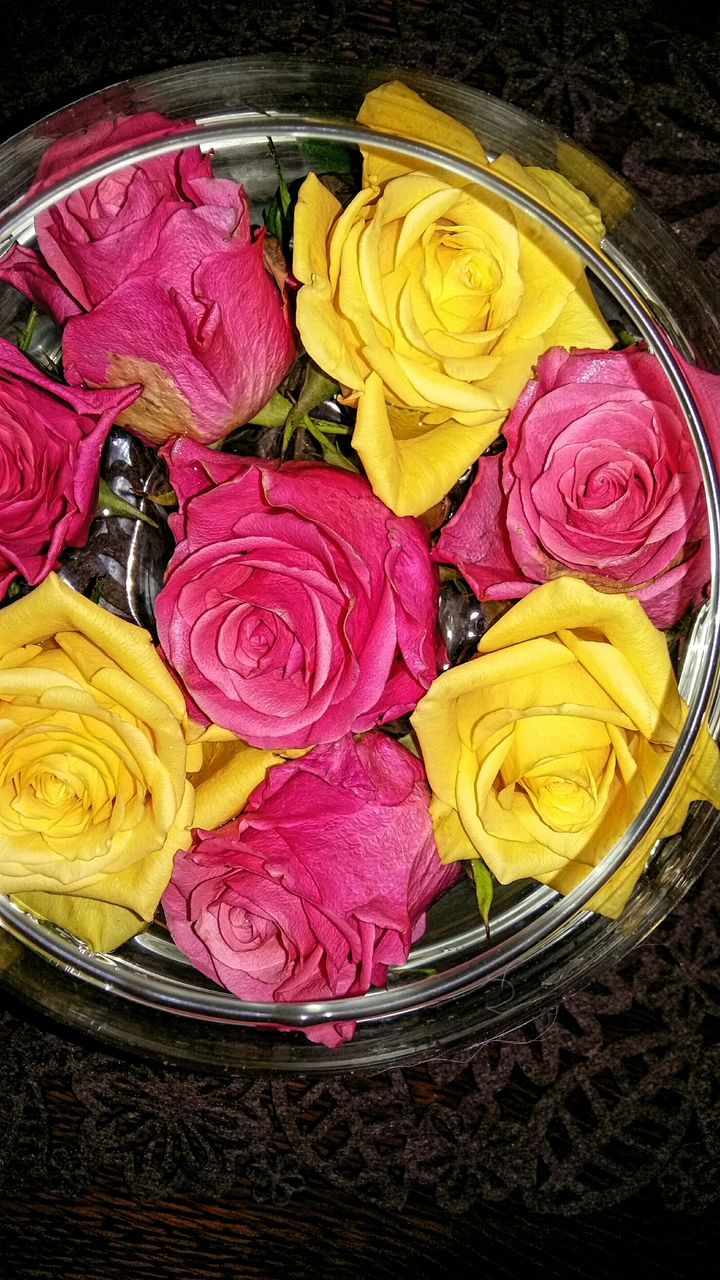 yellow, flower, freshness, multi colored, petal, indoors, high angle view, no people, rose - flower, food and drink, close-up, fragility, food, day