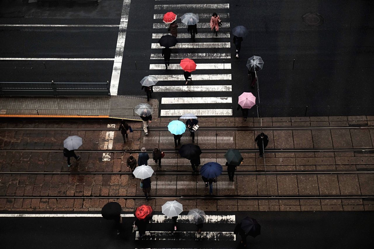 Real People Day Fujifilm FUJIFILM X-T1 People Watching Light And Shadow Japan City Road Street Photography Beauty In Nature Nature Winter Umbrella Rainy Days People