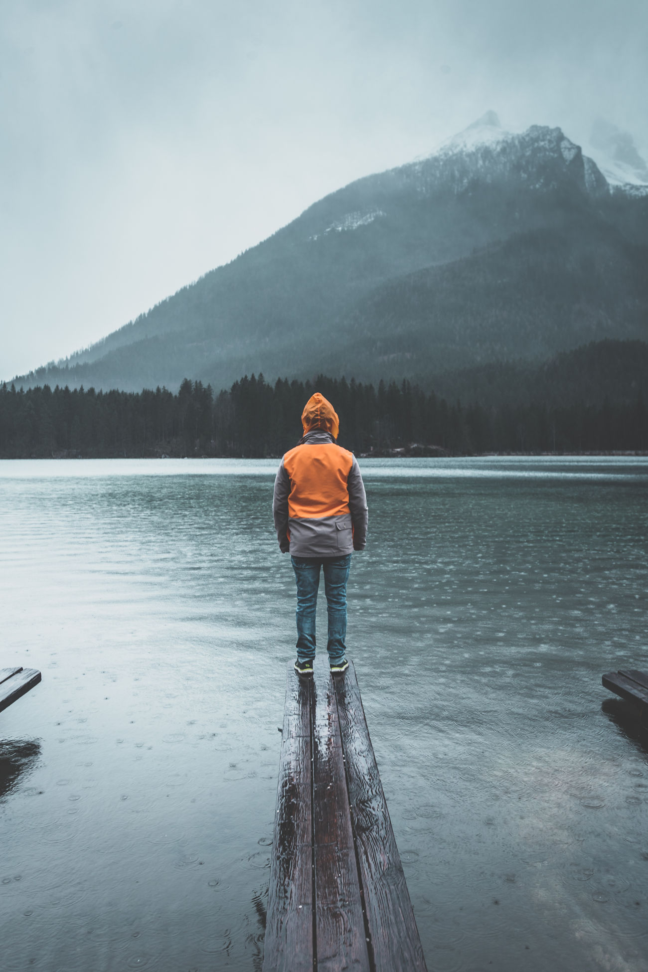 Adult Adults Only Alps Bavaria Bavarian Alps Berchtesgaden Berchtesgaden Alps Berchtesgadener Land  Day Foggy Hintersee Jacket Jetty Lake Lake View Lakeview Nature One Person Orange Outdoors People Pier Rain Rainy Days Water