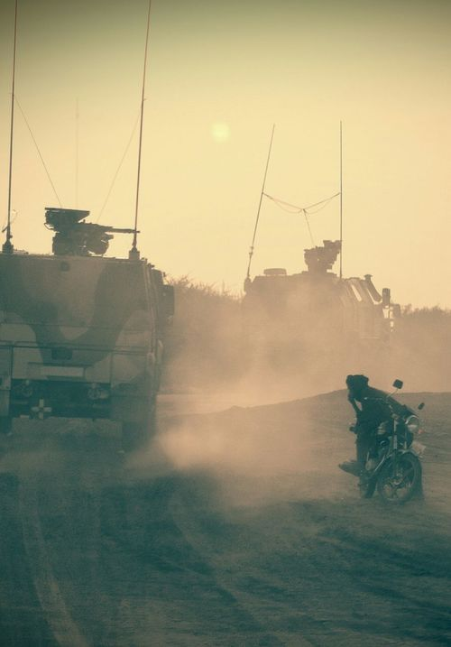 Hot Day Desert Military Nightphotography Military Life Armored Vehicle Camouflage Heat Apc Local Low Light Sunset Evening Motorcycle Motorbike Waiting Patrol  Patrolling Savannah Savanna Nikon D5100  FAR AWAY FROM HOME Turret Weapon United Nations