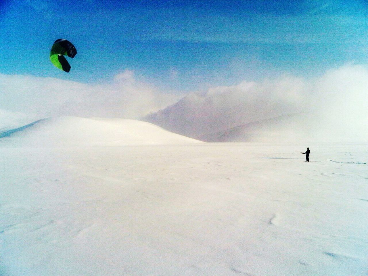 Adventure Snow Winter Cold Temperature Leisure Activity Unrecognizable Person Extreme Sports One Person Nature Day Outdoors Blue Sky Scenic View White Snowcapped Mountain Snowsurf Kitesurfing Winter Landscape Sport Beauty In Nature Winter Sport Wind Surfing Skiing Snow Covered Snowsurfing