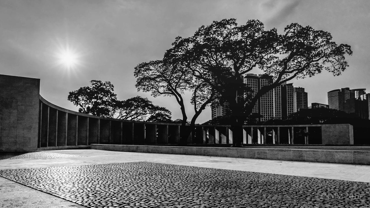 American Memorial Architecture Bare Tree Blackandwhite Building Building Exterior Built Structure City City Life Cloud Cloud - Sky Day Diminishing Perspective Empty Lens Flare No People Outdoors Sky Sun Sunbeam Sunlight Sunny The Way Forward Tree Walkway