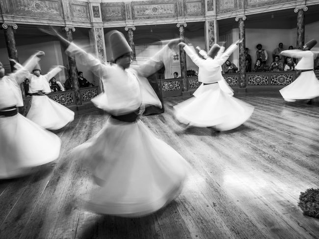 Whirling Dervishes in Istanbul Black And White Galata Mevlevi House Museum Islam Men Monochrome Photography Spinning Sufi Sufism Tall Hats Togetherness Whirling Dervishes Capturing Motion