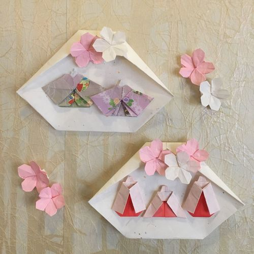 Origami Origami Art Peach Blossom Hinamatsuri Hina Dolls Pink Color Flower Head
