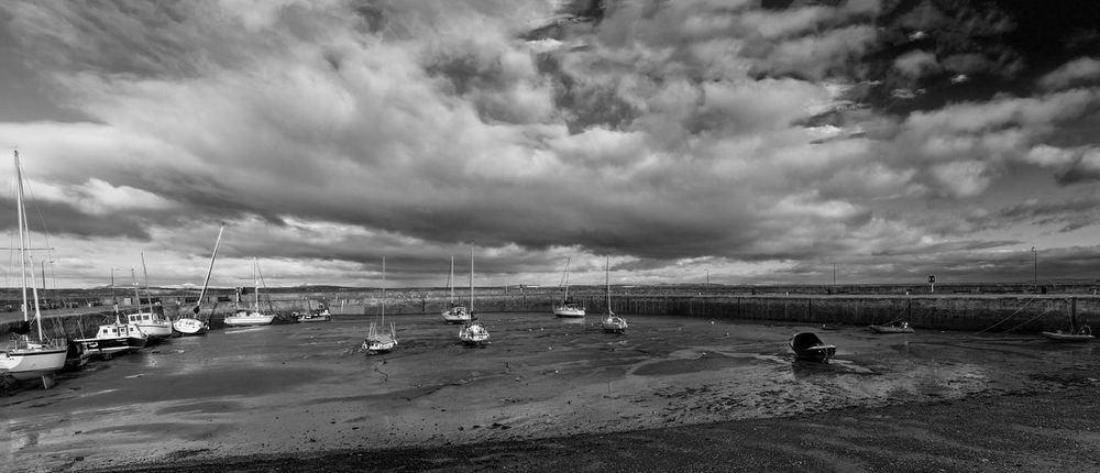 Clouds over Fisherrow Harbour at low tide. Boats Clouds Firth Of Forth Fisherrow Harbour Harbours Landscape Scotland 💕 Sky