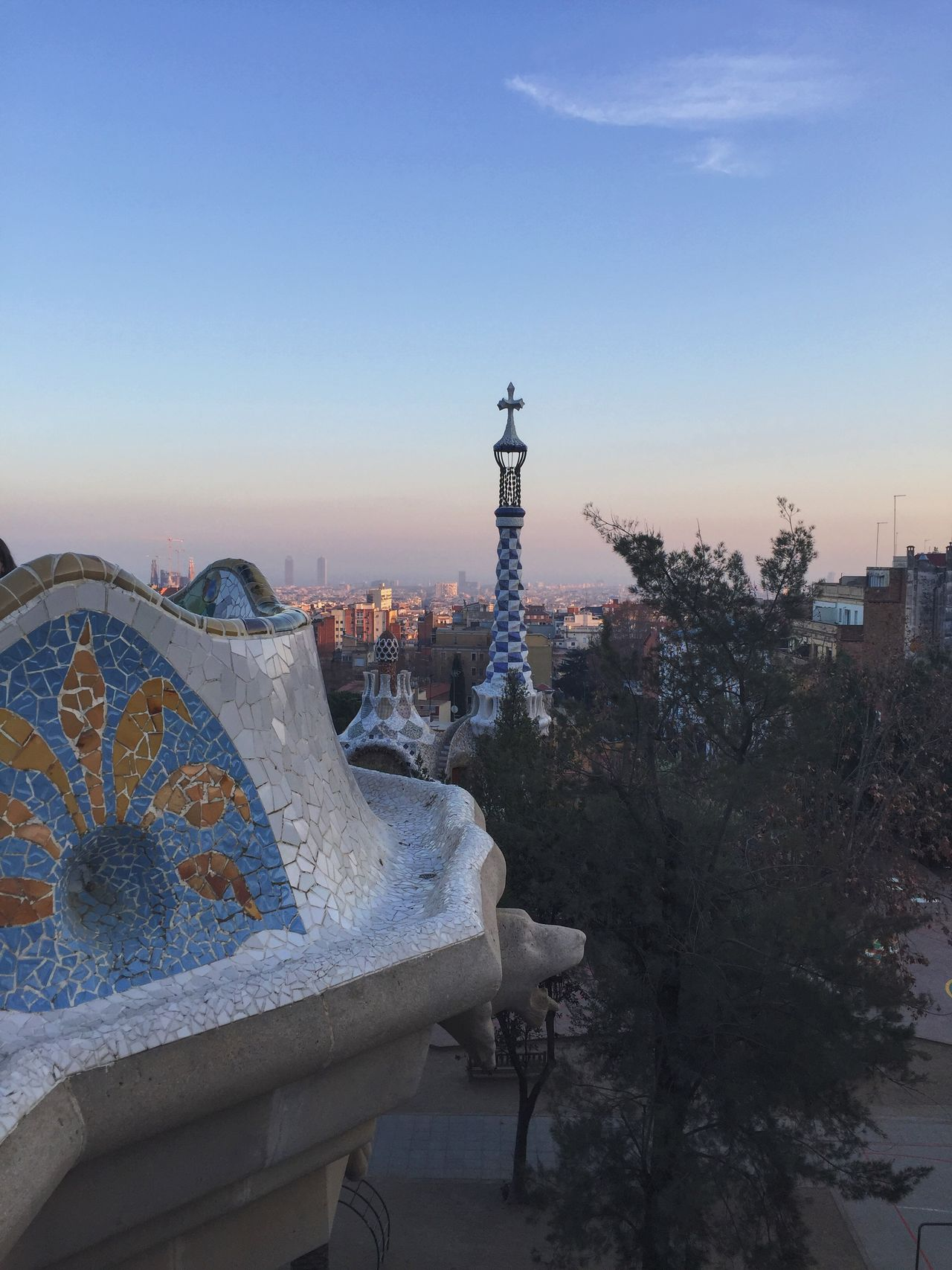 Gaudi Guell Park Guell Barcelona Sky