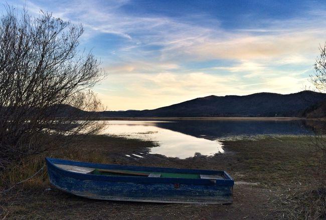Lonely boat Lake Landscape Nature Slovenia Photography