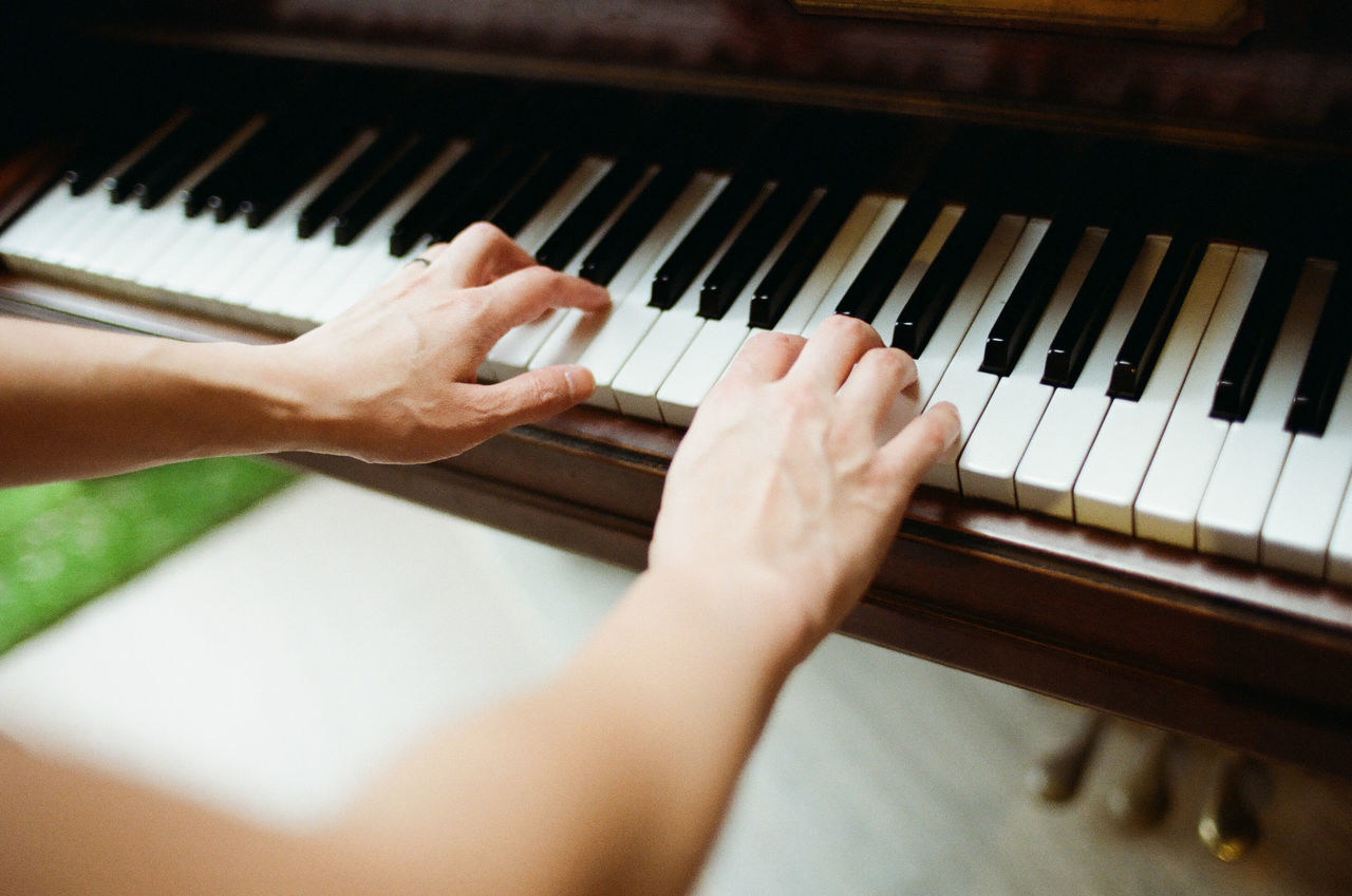 Arts Culture And Entertainment Classical Music Close-up Day Film Photography Filmisnotdead High Angle View Human Body Part Human Hand Indoors  Keyboard Keyboard Instrument Music Musical Instrument Musician One Person People Performance Pianist Piano Piano Key Playing Practicing Real People Skill
