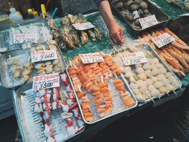 Kuromon Ichiba market Kuromon Ichiba Market IPhoneography Japan Japanese Food Seafood Market Food Market Travel Vscocam