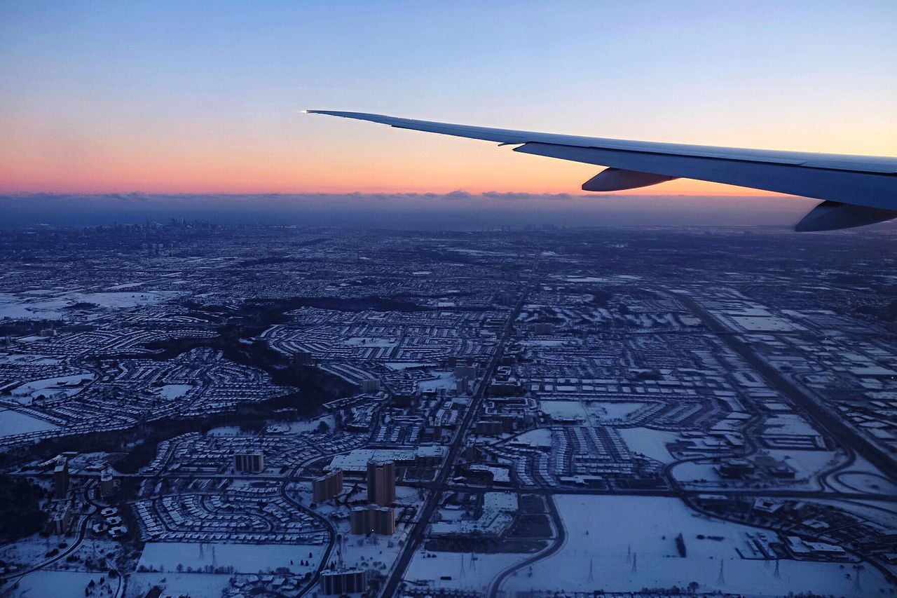 Flying High Airplane Transportation Travel Aerial View Journey Winter Sky Flying Aircraft Wing Building Exterior City Snow Mode Of Transport Cityscape Outdoors Built Structure Cold Temperature Air Vehicle Architecture Nature Toronto Torontophotographer Toronto Landscape Flying High Sunset