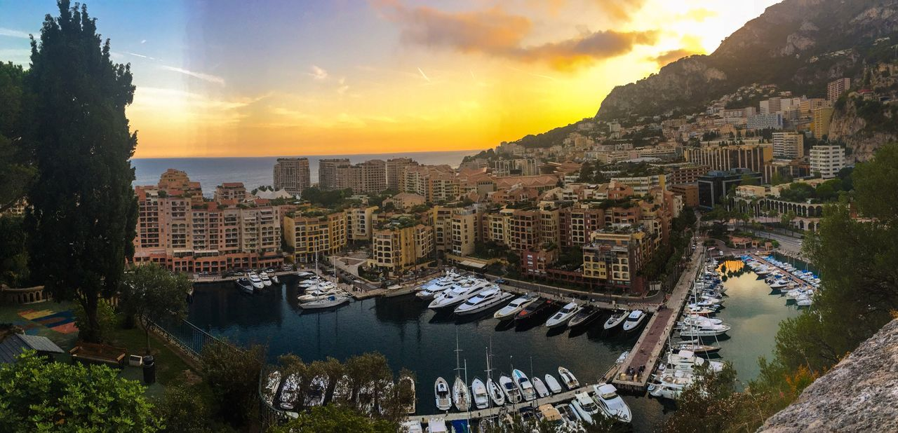 Monaco - France Architecture Sunset Building Exterior Cityscape Tree City Tourism PACA Transportation Sky Water Nautical Vessel No People Outdoors Day