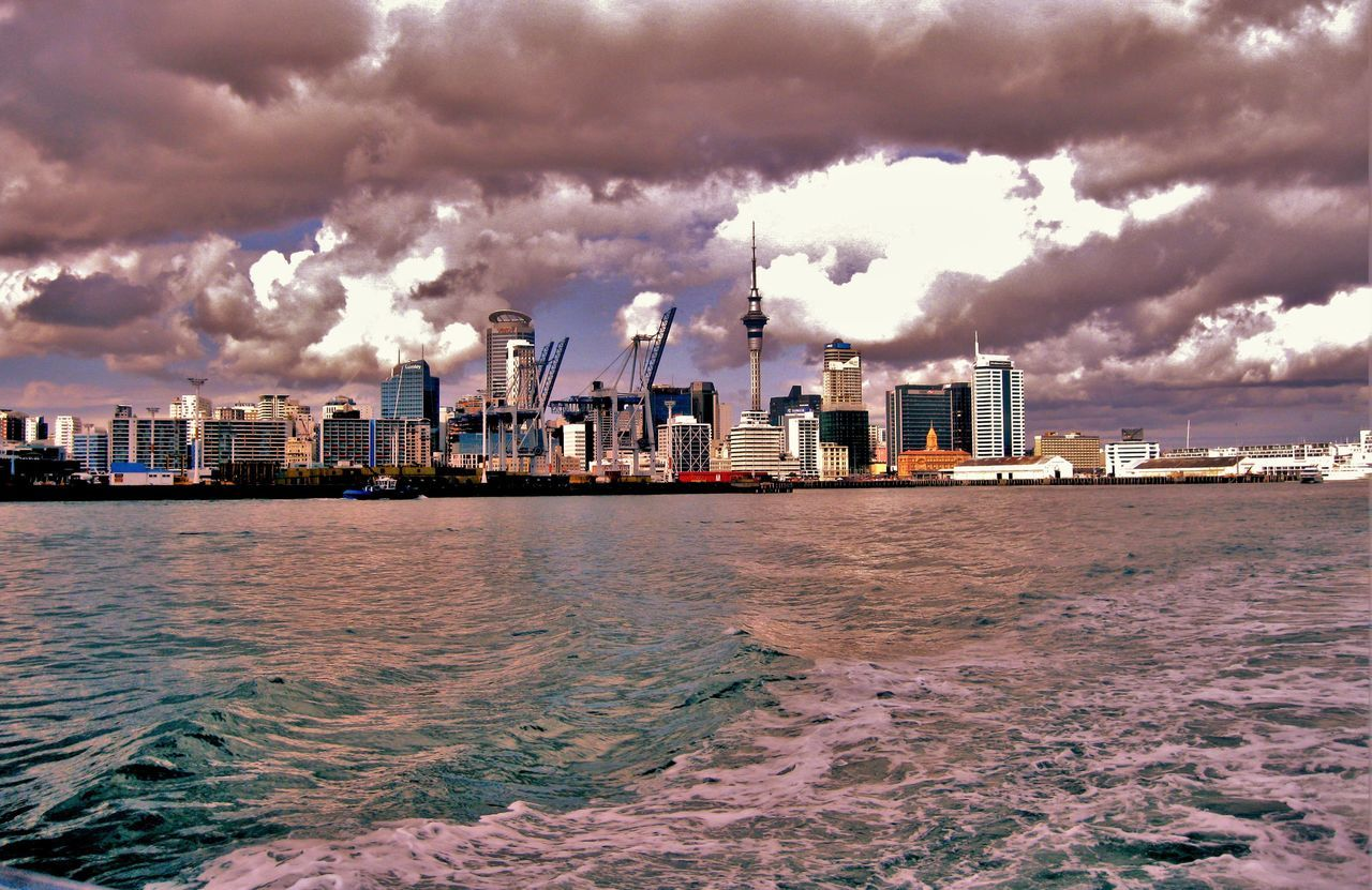 Architecture Auckland Skyline Building Built Structure City City Life Cityscape Cloud Cloud - Sky Cloudy Horizon View Modern Outdoors Overcast Rippled Scenics Sea Sky Skyscraper Tall - High Travel Destinations Urban Skyline Water Waterfront Weather
