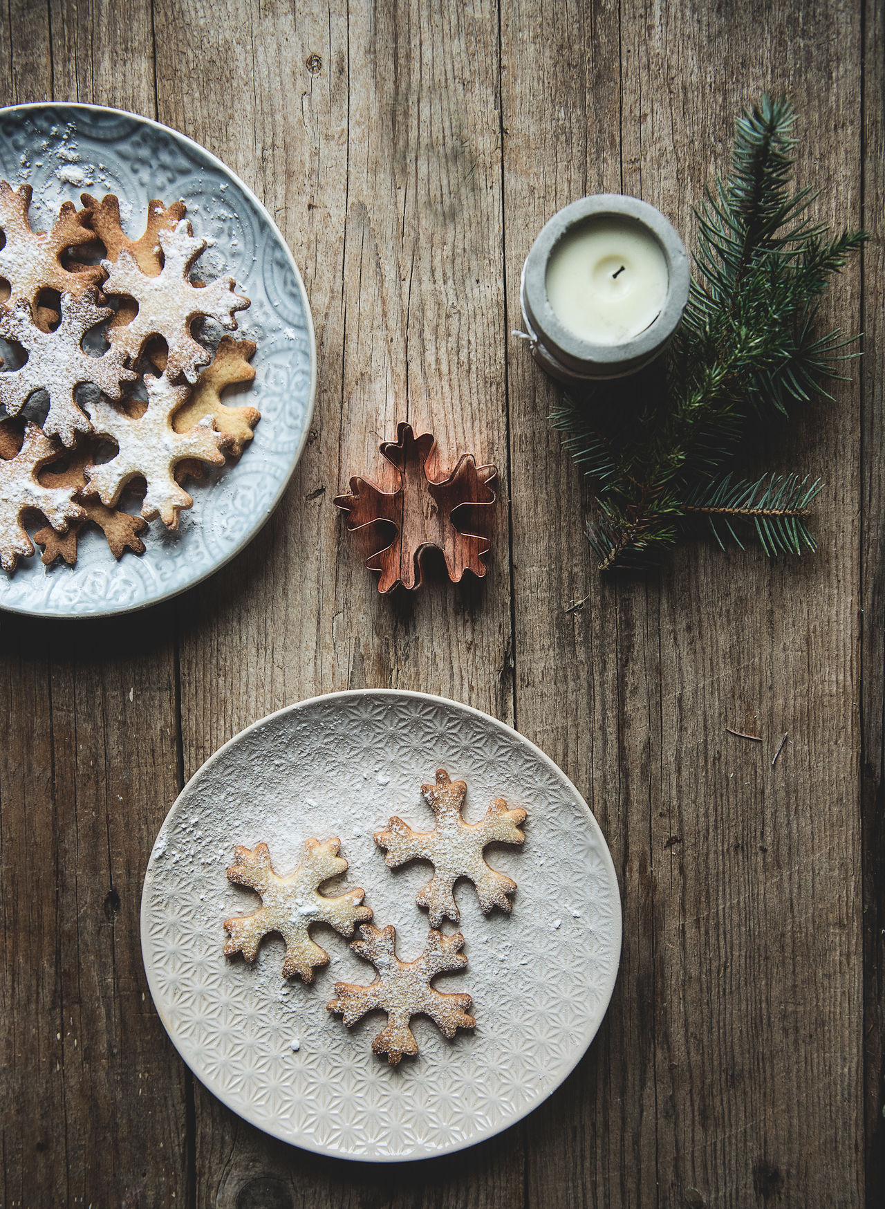 Xmas Cookies Candle Christmas Cookies Directly Above Food High Angle View Indoors  No People Plates Plates On A Table Sweet Food Wood - Material