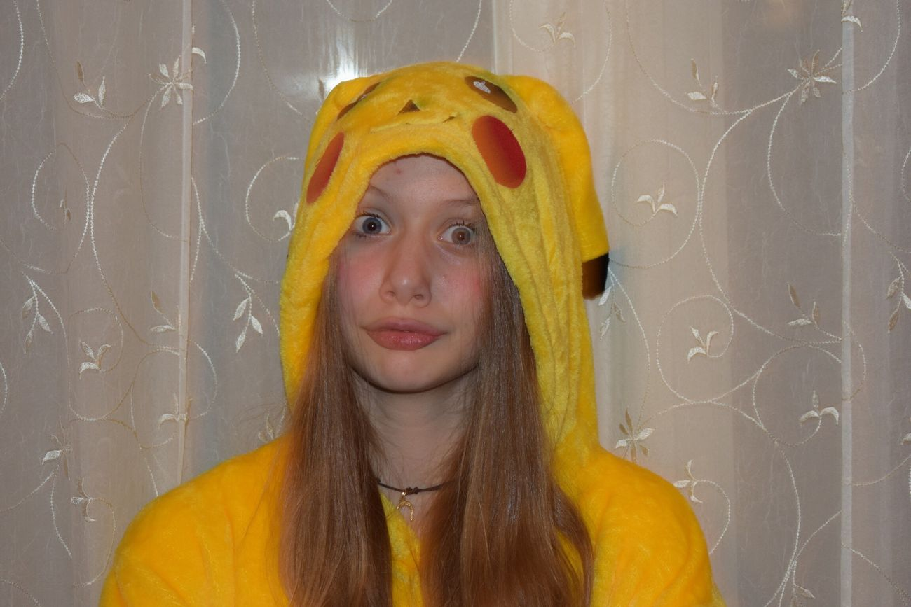 Real People Portrait Indoors  Young Women Pokémon Pikachu Crazymood Fun