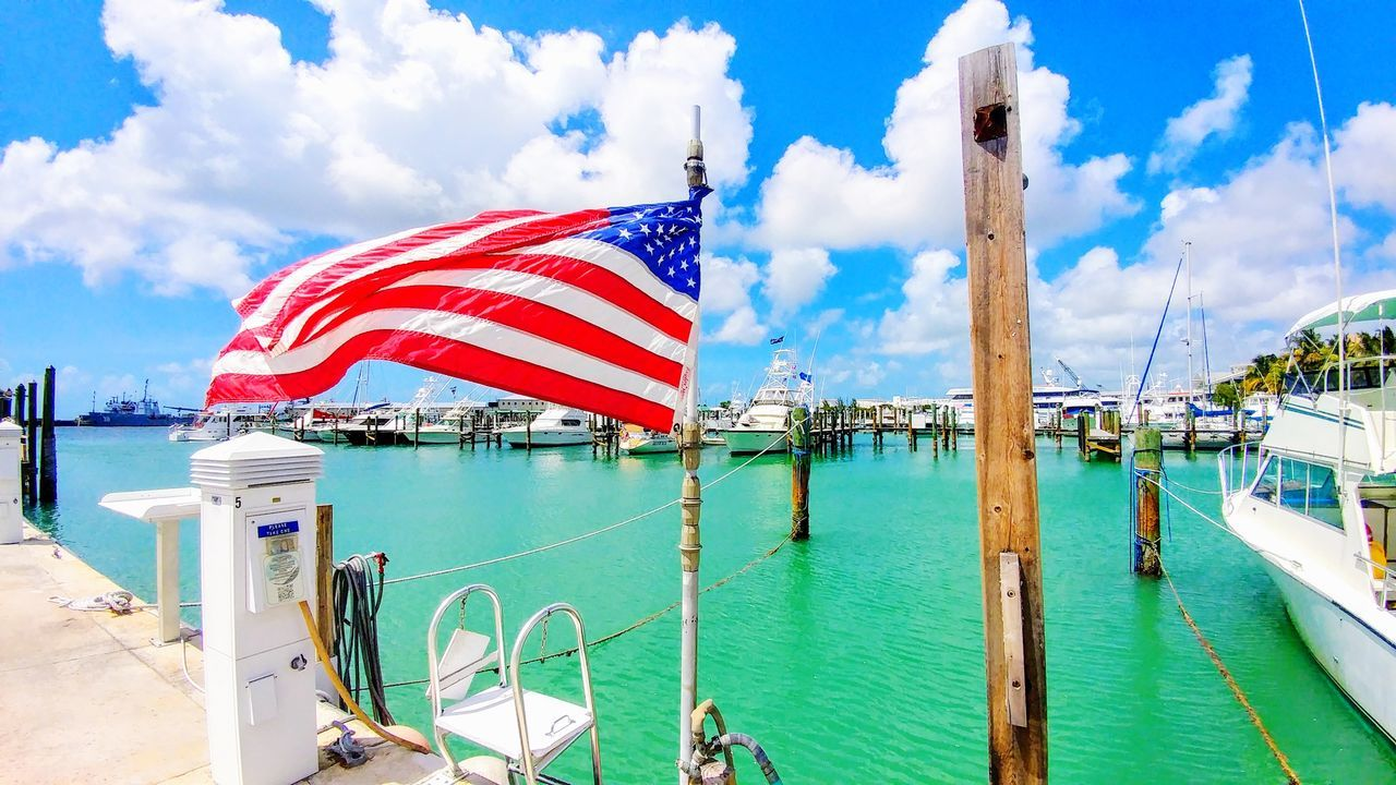 flag, patriotism, sky, cloud - sky, water, day, freedom, outdoors, sea, transportation, nature, nautical vessel, stars and stripes, no people, beauty in nature, close-up