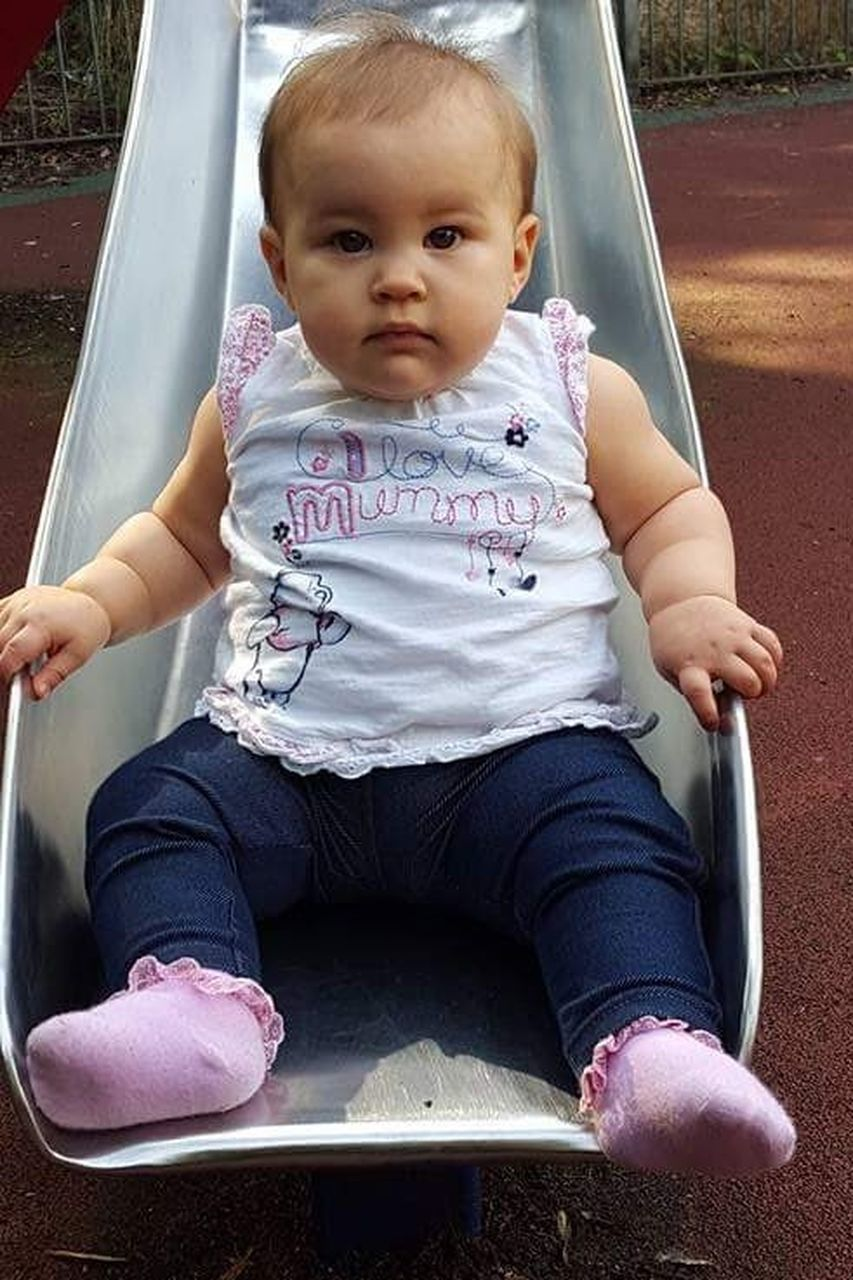 baby, sitting, childhood, full length, cute, babies only, outdoor play equipment, people, one person, happiness, day, outdoors, adult