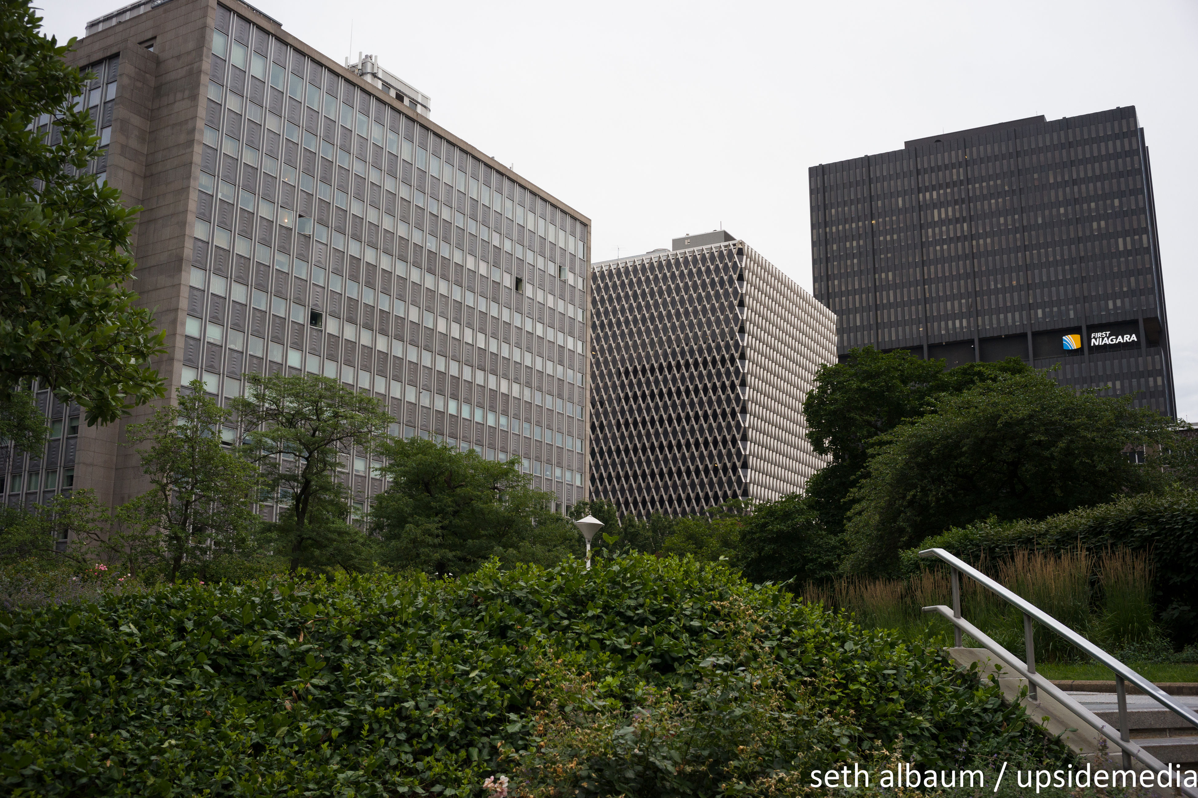 building exterior, architecture, built structure, tree, city, modern, office building, building, growth, skyscraper, sky, day, tall - high, green color, outdoors, no people, city life, grass, plant, tall, nature, green, development