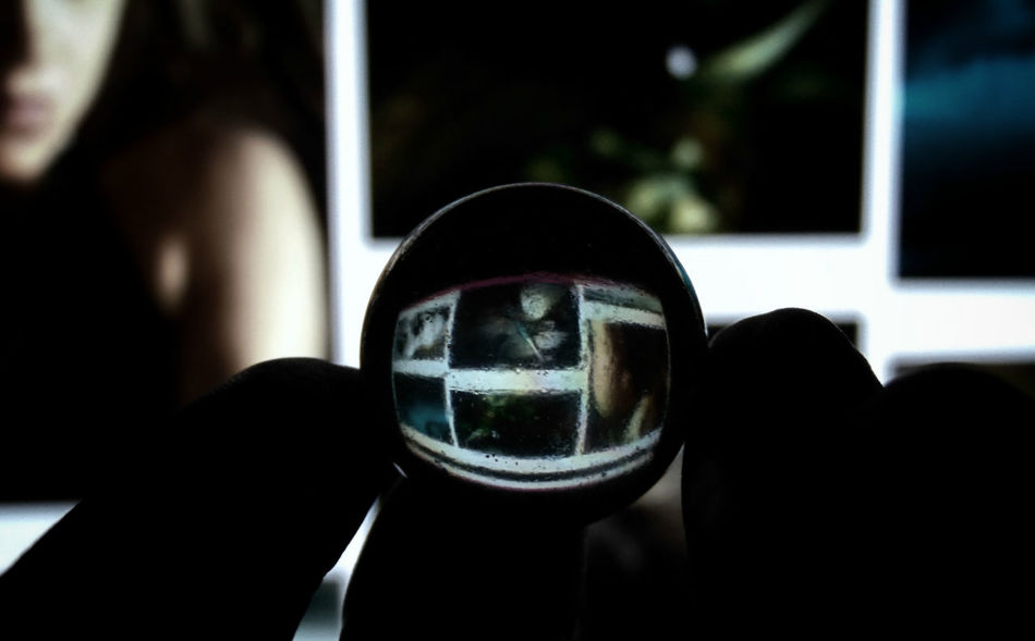 Gooood Night and Good Morning! :D Backlight Close-up Computer Screen Eyeem Profile Fingers Focus On Foreground Glass Ball Holding Human Hand Indoors  Orb Perspective Photos Random Reflection Reflection Refraction Round Silhouette