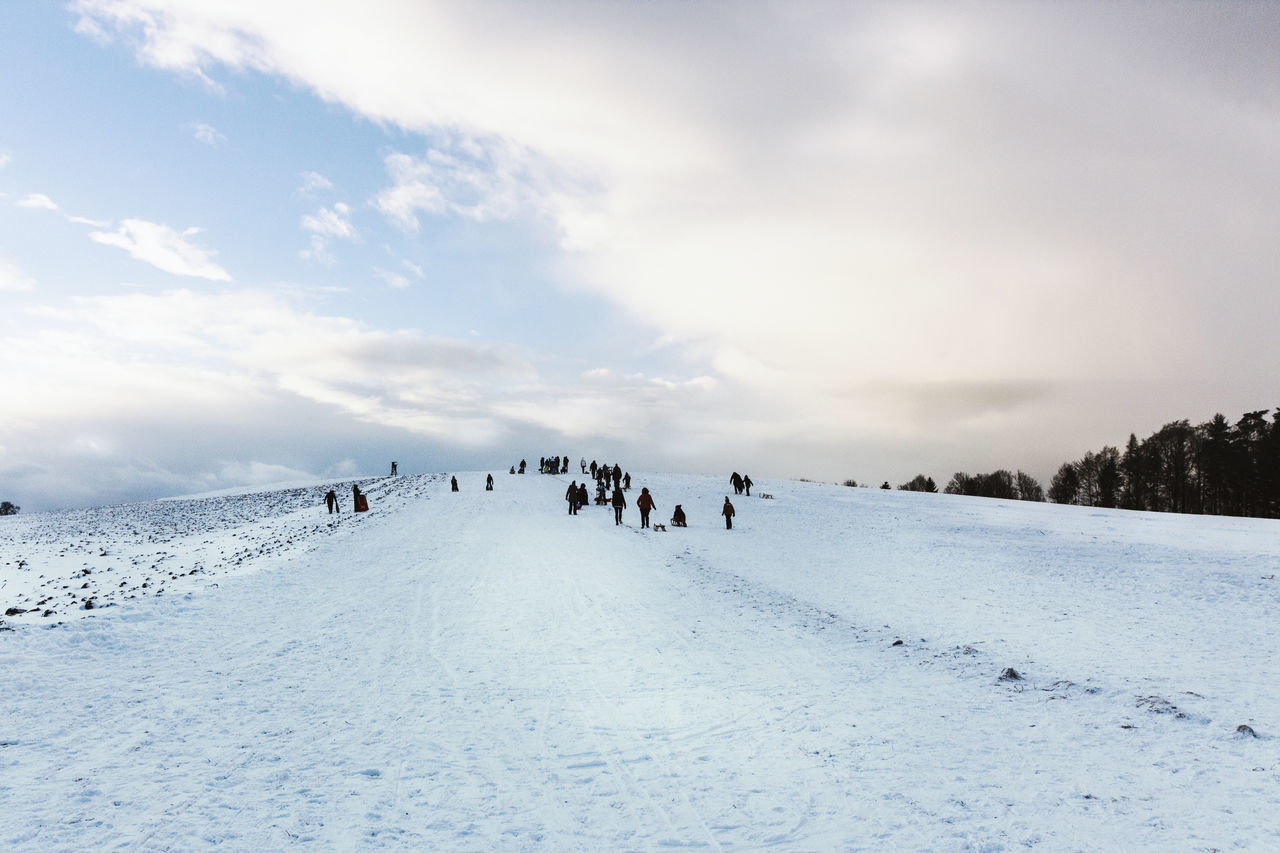 Cloud - Sky Cold Temperature Eye4photography  Landscape Large Group Of People Outdoors People Sledging Snow Winter Winter Winter_collection