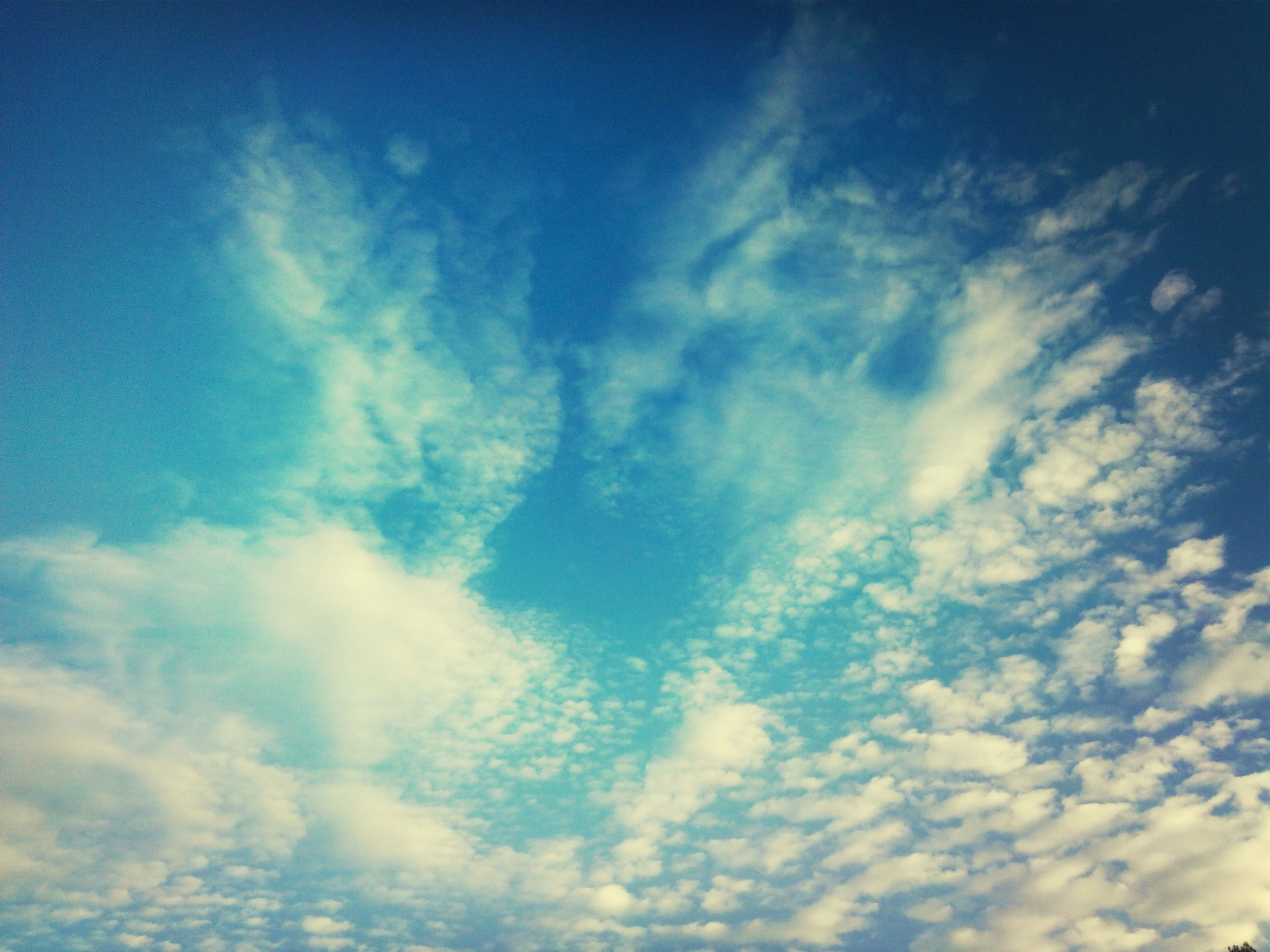 low angle view, sky, blue, cloud - sky, sky only, beauty in nature, tranquility, scenics, nature, tranquil scene, cloud, backgrounds, cloudscape, cloudy, idyllic, outdoors, full frame, no people, day, majestic