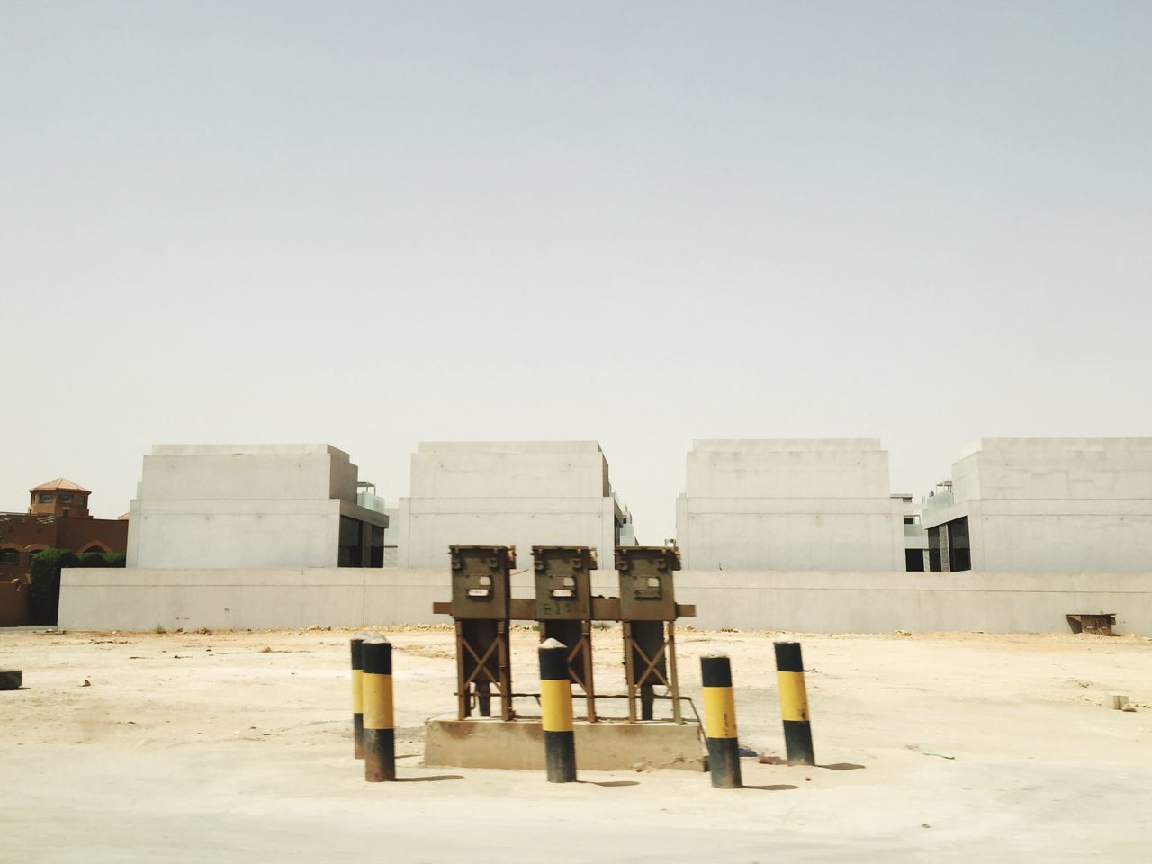Suburban monuments Clear Sky Copy Space Sand Beach Day Outdoors No People Sky Nature Monument Monuments Monumental  Suburbia Desert Landscape Desert Suburb Empty Places Desert Empty Nothing To Do Blocked Path Block Of Flats