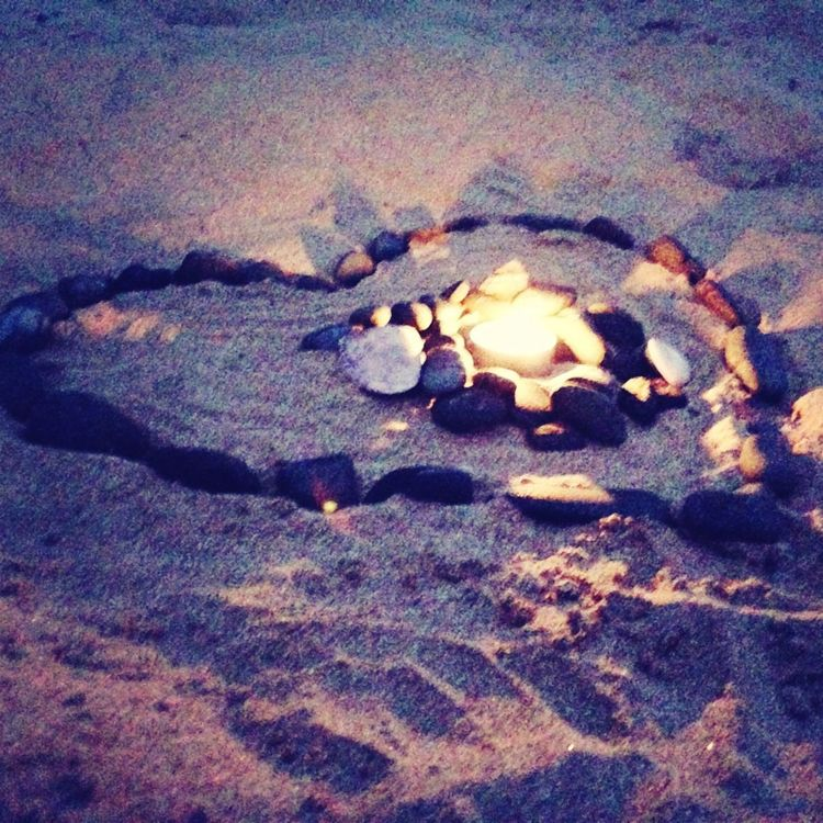 Heart of pebbles with a lit candle for you Paps love you R.I.P. Love And Freedom Family❤ Paps Beachphotography Apollo Bay RIP :(
