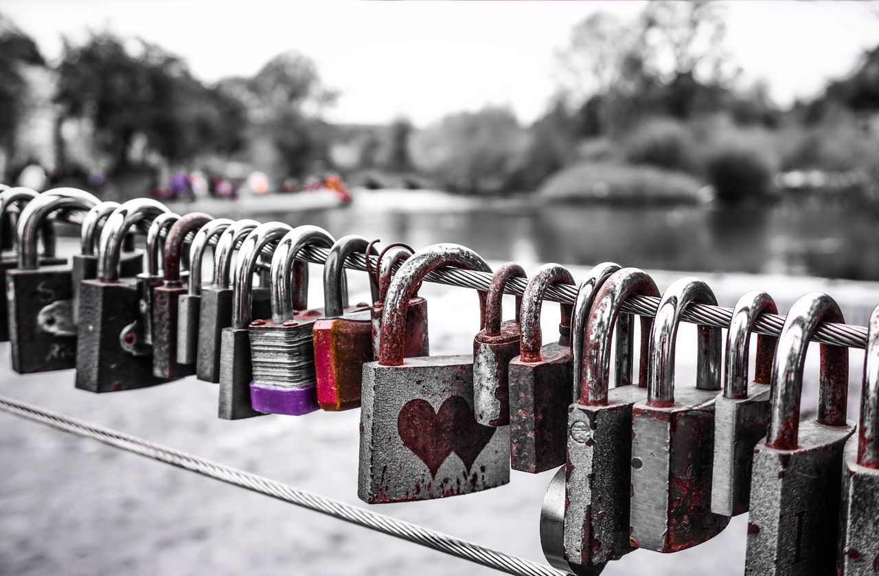 Padlock Love Lock Metal Lock Security Focus On Foreground Railing Love Water Bokeh Heart Hearts Padlocks River Hanging Large Group Of Objects Handrail  Love Romance Romantic Coloursplash Colorsplash