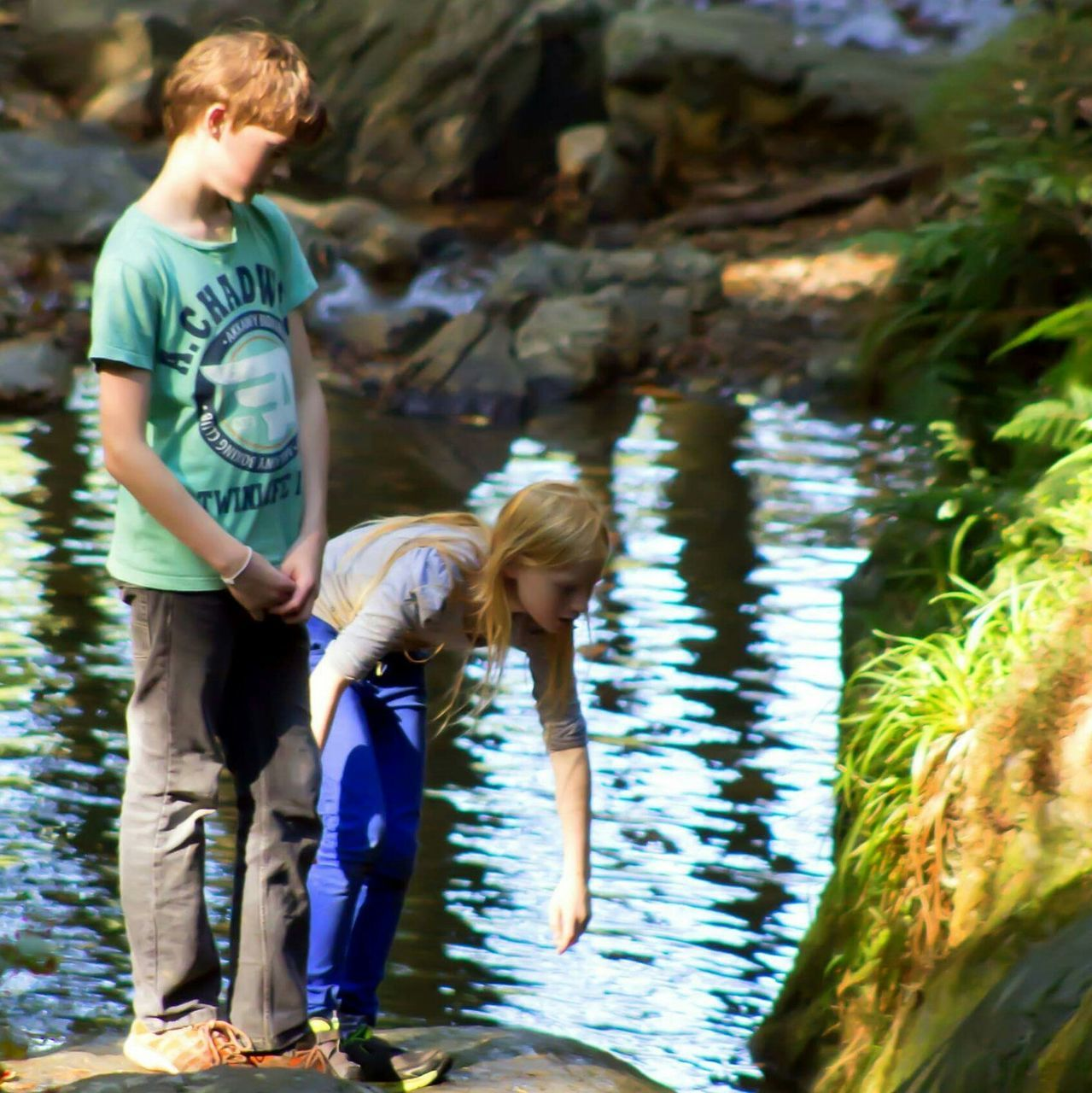 real people, water, childhood, leisure activity, boys, elementary age, casual clothing, full length, day, river, lifestyles, girls, family, standing, focus on foreground, outdoors, ankle deep in water, togetherness, nature, young women, young adult
