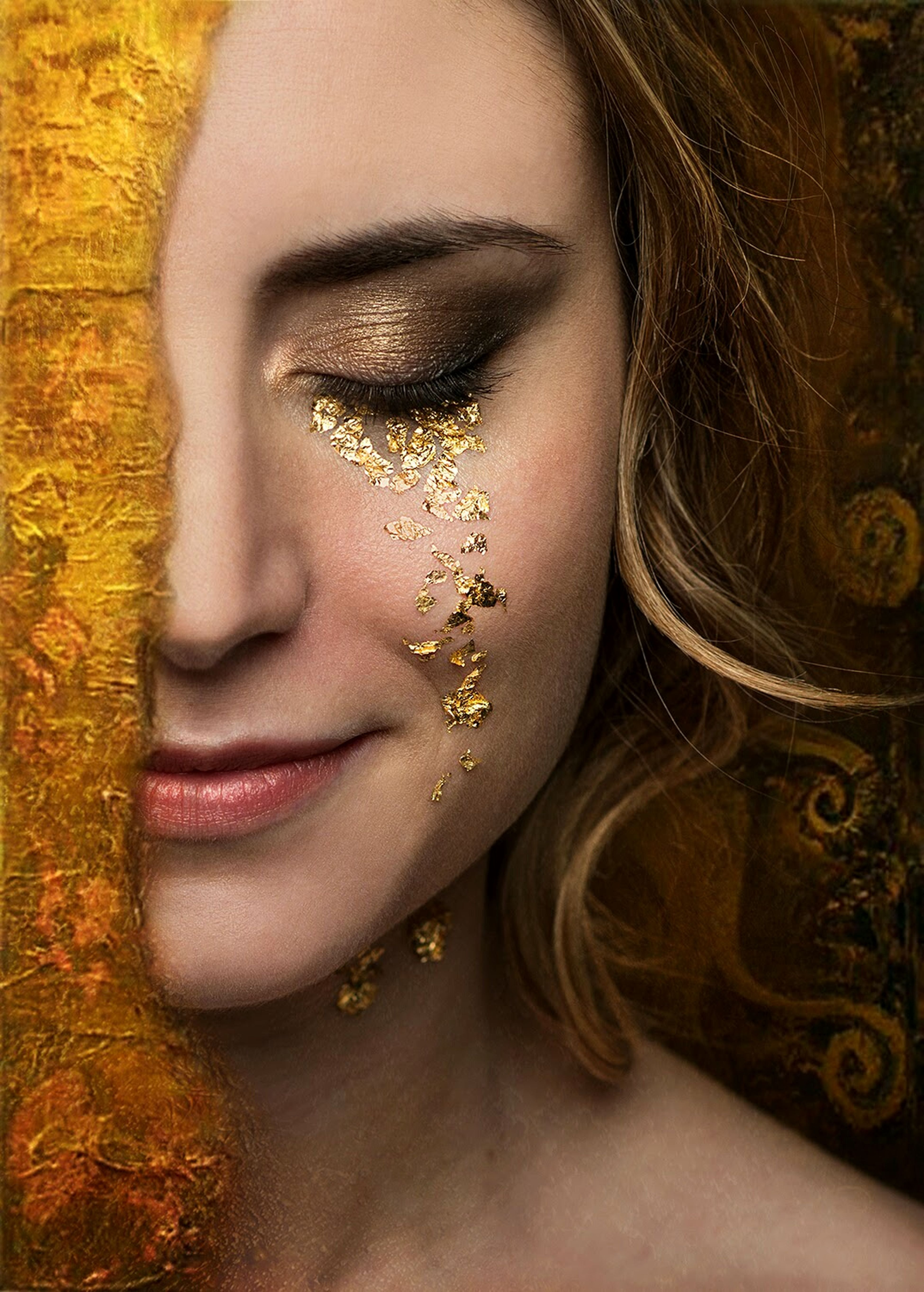 Freya. Instante Constante Only Women One Woman Only One Person Adult Make-up Beauty Beautiful Woman People Adults Only One Young Woman Only Eyes Closed  Human Face Close-up Headshot Portrait Fantasy Gold Colored Studio Shot Shiny Fine Art Photography The Portraitist - 2017 EyeEm Awards EyeEmNewHere Tears Gold Gold Tears