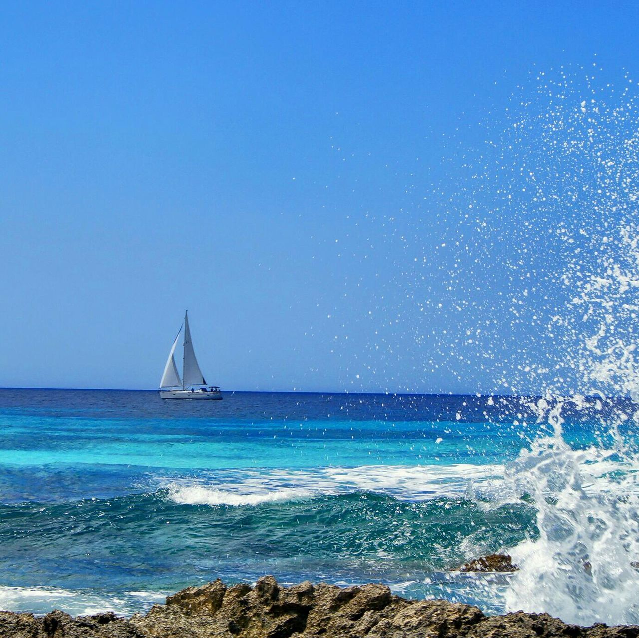 Beautiful stock photos of sailing, Beach, Beauty In Nature, Blue, Clear Sky