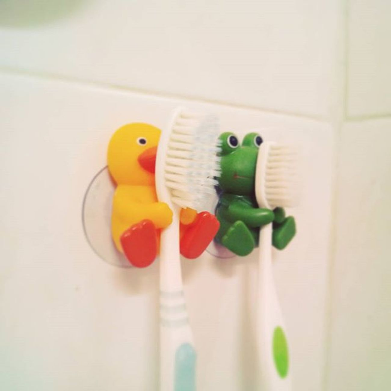 in two weeks... see you two! 😉 😊 ☺ 🐥 🐸 Home Secondhome Bathroom Toothbrushes Two Together Duckie Froggie