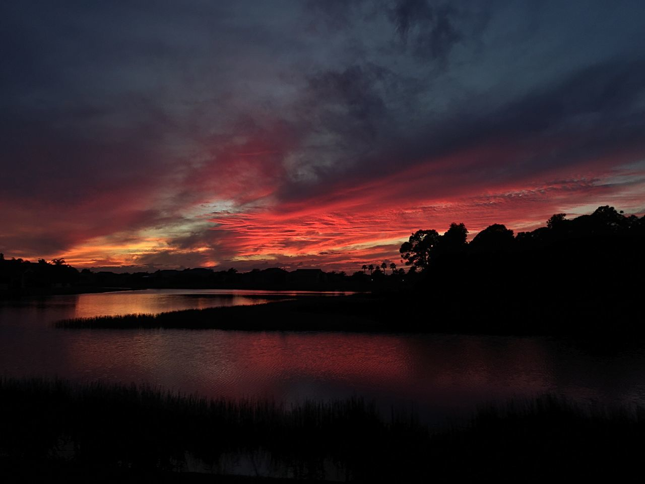 sunset, beauty in nature, scenics, tranquil scene, nature, tranquility, dramatic sky, sky, silhouette, reflection, majestic, cloud - sky, orange color, idyllic, no people, water, lake, tree, awe, outdoors