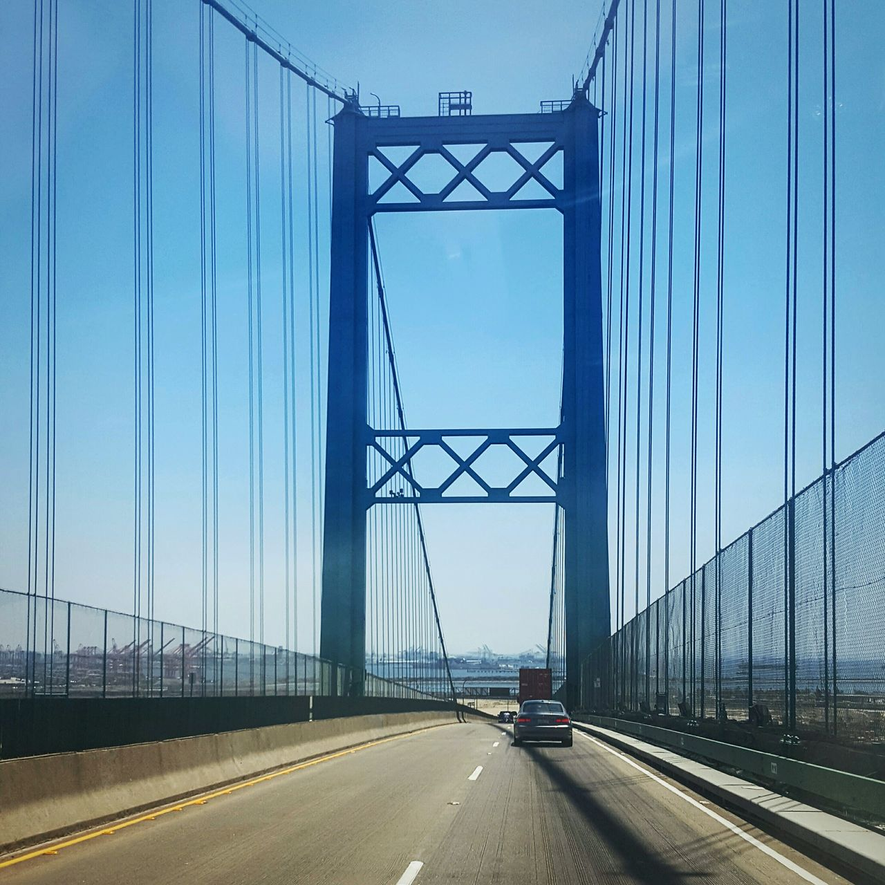 Driving Over The Vicente Thomas Bridge Abstract Photography Outdoor Photography Urban Exploration Street Photography Cityscapes My Perspective Perspective IShootFromMyWheelchair Bridge Photography Suspension Bridge Blue Sky Fresh On Eyeem  Eyeem Market EyeEm Eyeemphotography Eye4photography  ForTheLoveOfPhotography Fine Art On The Way