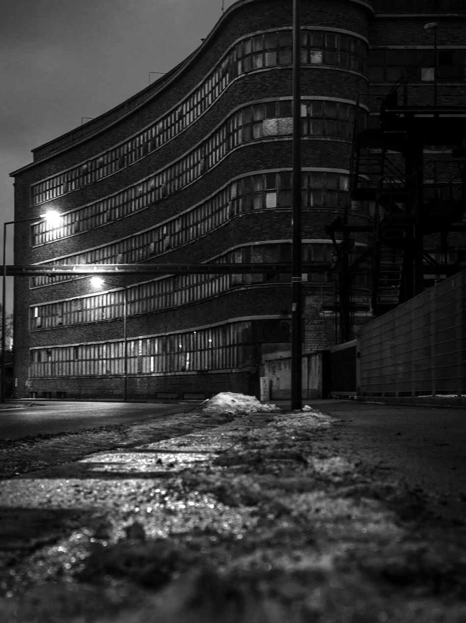 black and white and mystery Architecture Blackandwhite Blackandwhite Photography Building Exterior Built Structure City EyeEm Best Shots Fortheloveofblackandwhite Illuminated Industrial Building  Industrial Landscapes Industry Lampost Monday Mysterious Mystery Night No People Outdoors Secret Places Street Street Lamp The Secret Spaces Urban Urban Geometry Weather