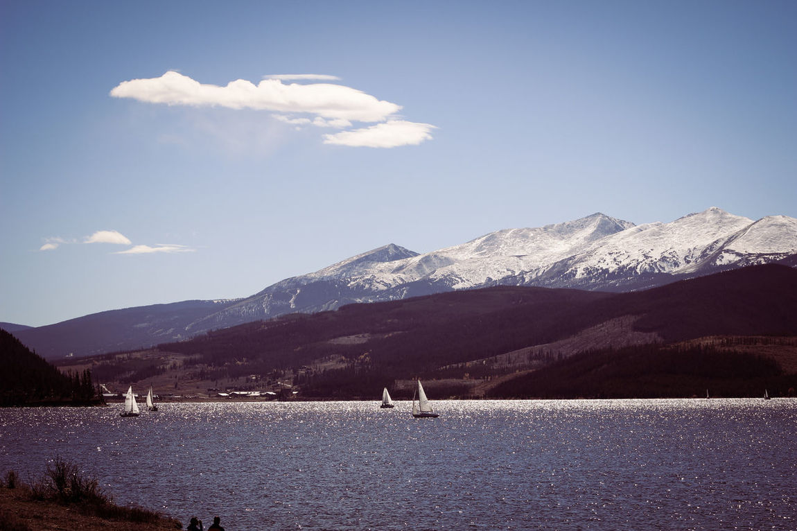 Blue Skies Colorado Dillon Resivoir Dillon, CO Fall Colors Lake Lake View Landscape Mountains Non-urban Scene Resivoir Sail Boat Sailing Scenic Snow Capped Mountains Summit County View Water