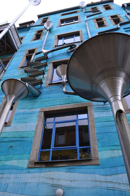 Architecture Blue Dresden House Kunsthofpassage Low Angle View Music No Edit/no Filter Rain
