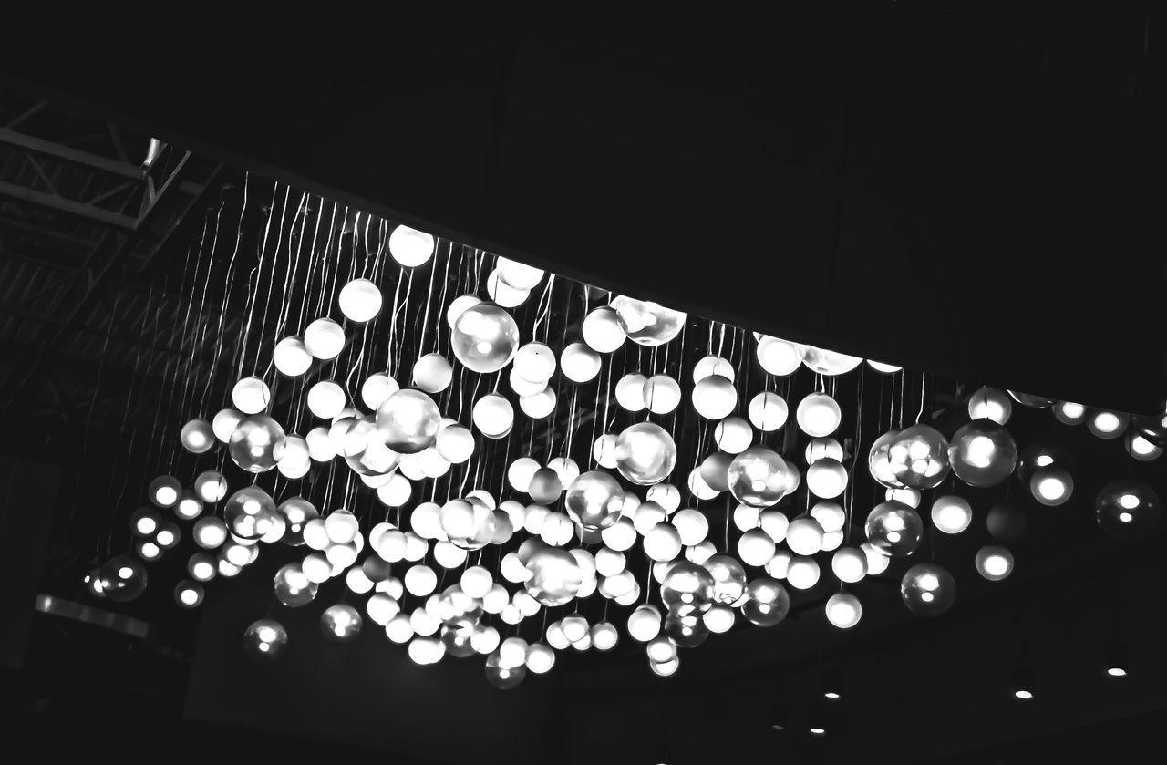 Low Angle View Indoors  Illuminated Hanging Lights Hanginglights Lightballs Blackandwhite No People